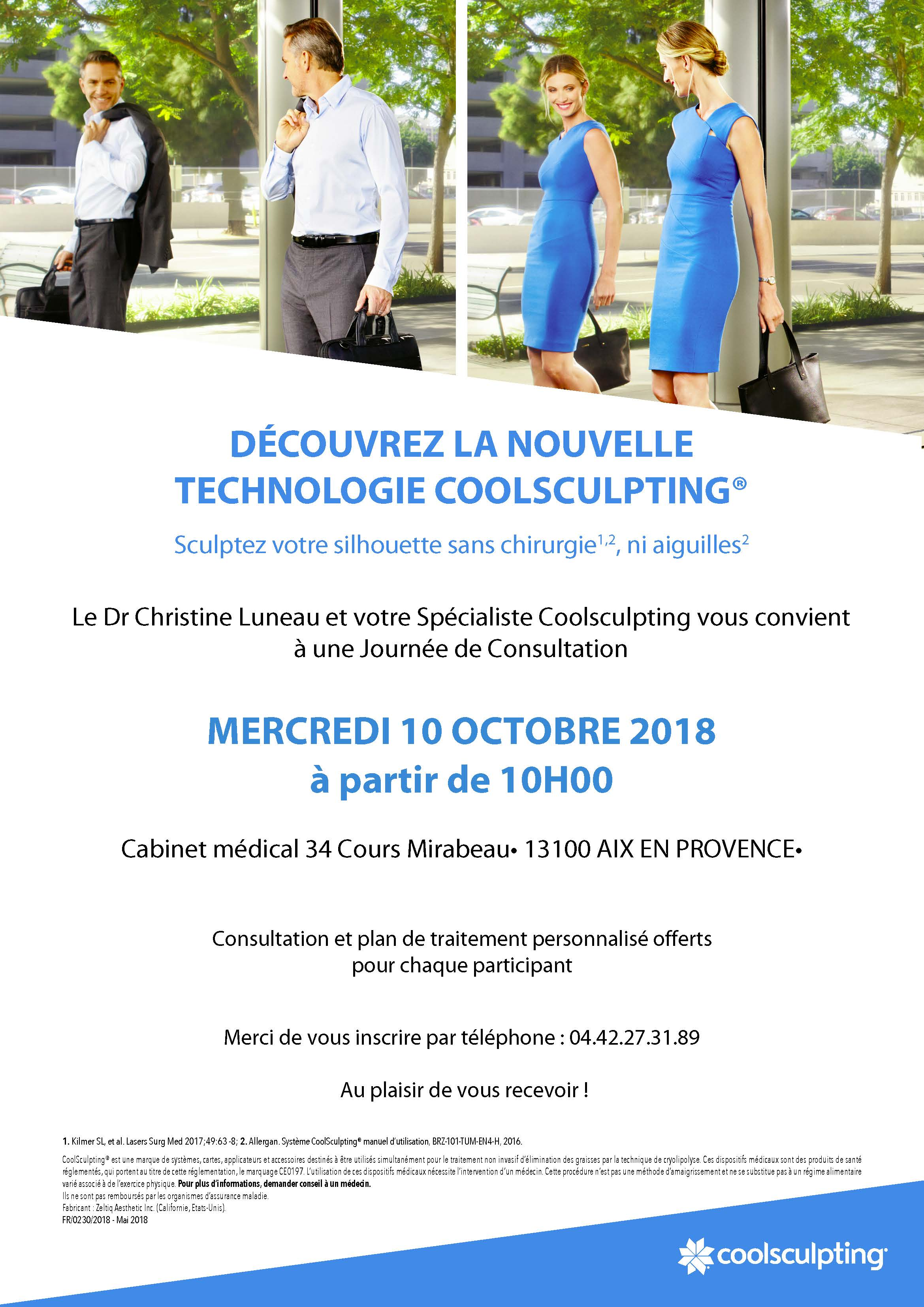 Journee de consultation Coolsculpting - le 10 octobre 2018 à partir de 10h00